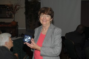 Comm. Pat Mulieri receiving the Sister Joan Foley Community Service Award