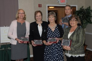 Abby Evert, Sheila Krautner (accepting for Sis. Joan Foley), Penny Morrill, Matthew Armstrong (accepting for Adelaida Reyes), and Dianne Morris.(from left to right)